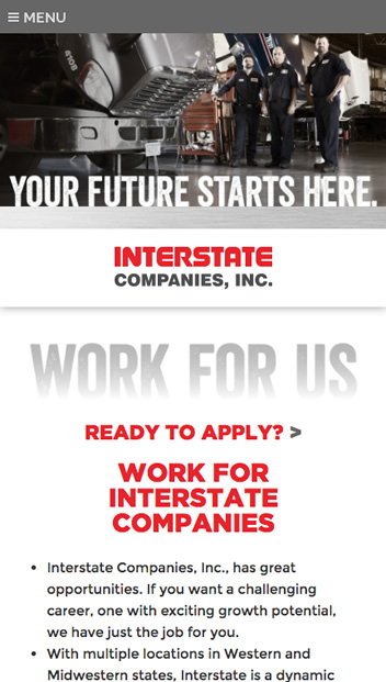 iState Careers - Mobile view